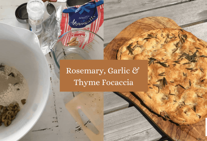 rosemary, garlic and Thyme Focaccia