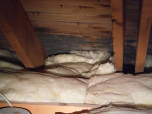This is an example of improperly installed attic insulation.