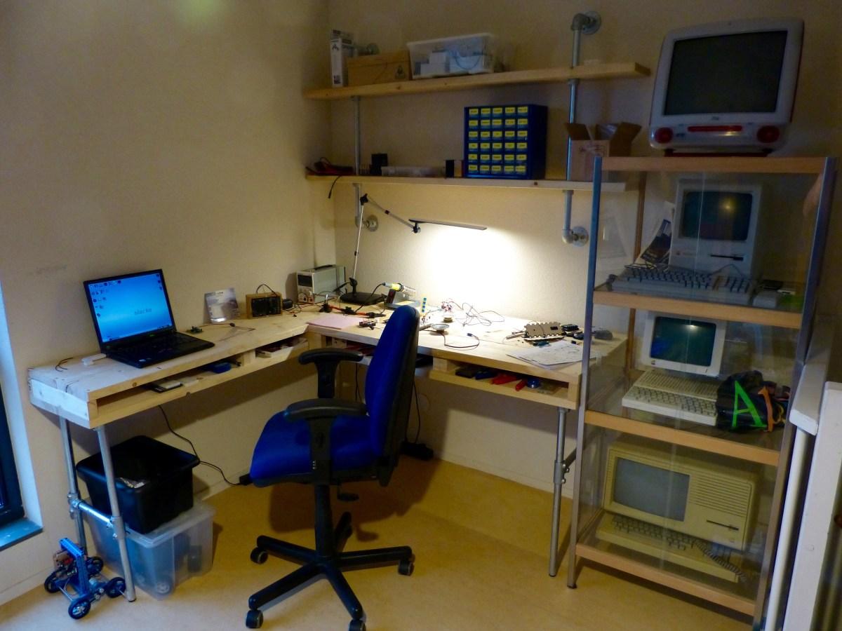 Homemade desk of scaffolding wood