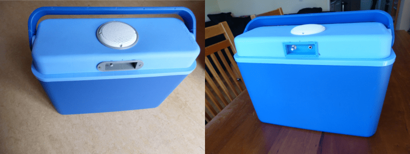 "Left the cooler with improved speaker and console and right ""old cooler"" with printed part of PLA filament."