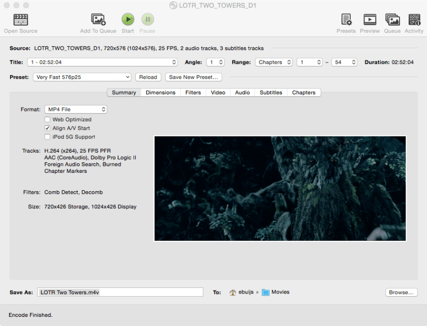 Screenshot of Handbrake
