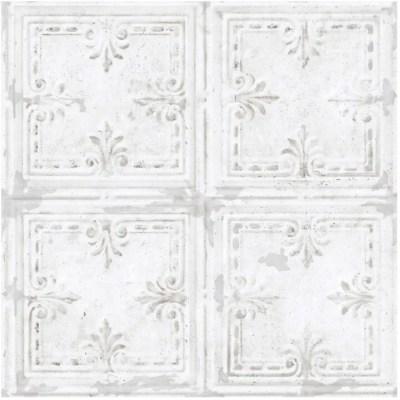 roommates tin tile peel stick wallpaper white 20 5 x 16 5