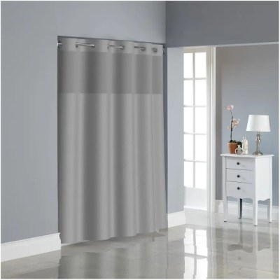 hookless polyester hookless shower curtain peva liner drizzle grey 71 x 74
