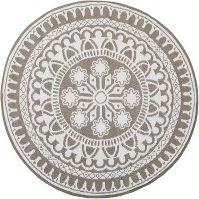 multimats 72 round plastic patio rug grey white