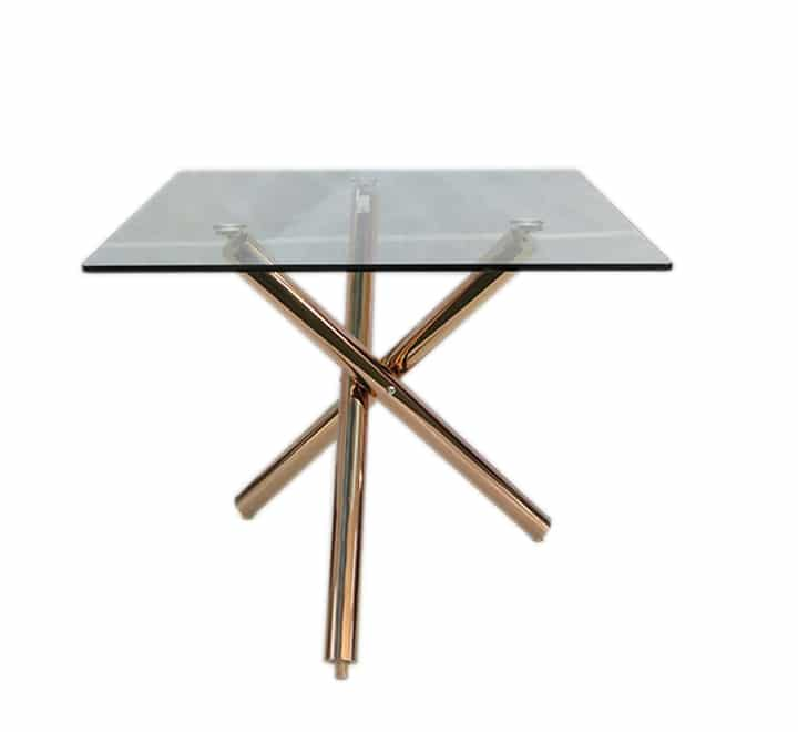 square glass table rose gold