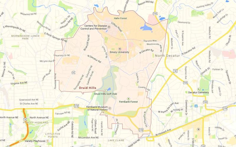 Map Location Of Druid Hills Neighborhood