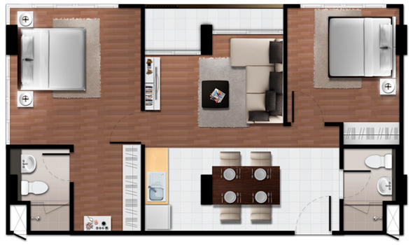 2 Bedroom - Baan Imm Aim