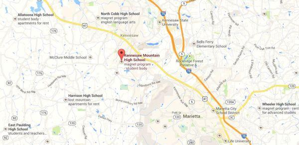 Kennesaw Mountain High Map Location GA