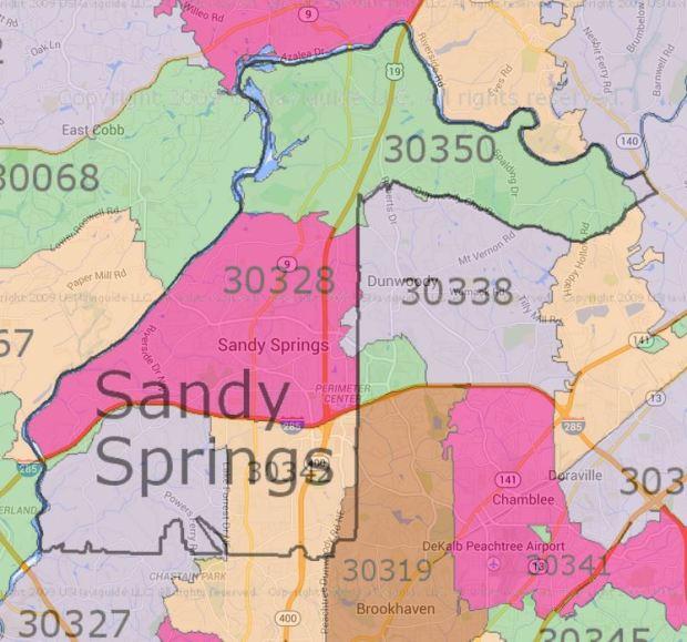 Sandy Springs Zip Code Map
