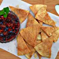 Farmers Market Blueberry Cherry Salsa with Cinnamon Sugar Tortillas