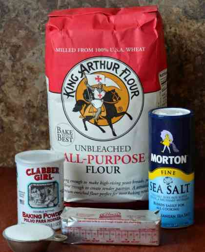 Flour, baking powder, salt, sugar and shortening is all it takes to make your own Baking Mix