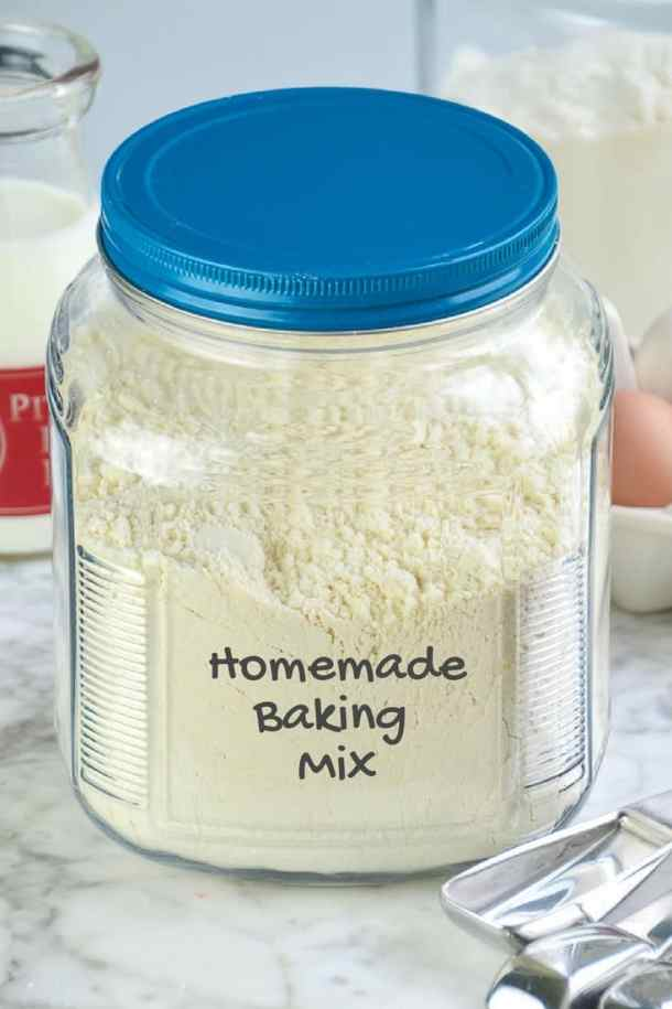 Homemade Baking Mix (DIY Bisquick) made with a healthier shortening substitute.