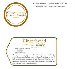 Gingerbread Cookie Gift Jar Printable Instructions and jar top label