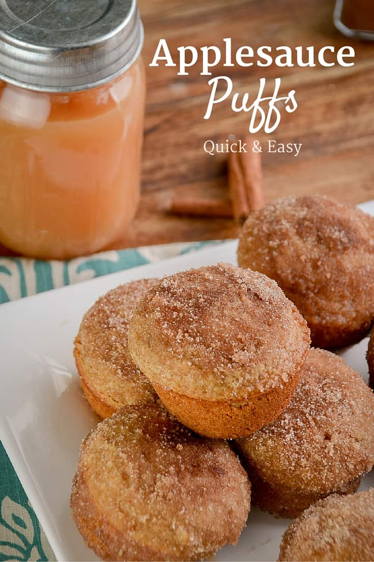 Applesauce Puffs are a great quick after-school snack, they are so easy to mix up and get into the oven, and the kids LOVE  eating them.