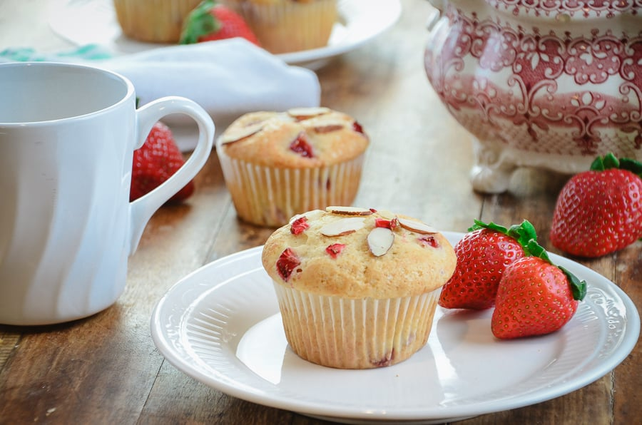 Fresh Strawberry Almond Muffins