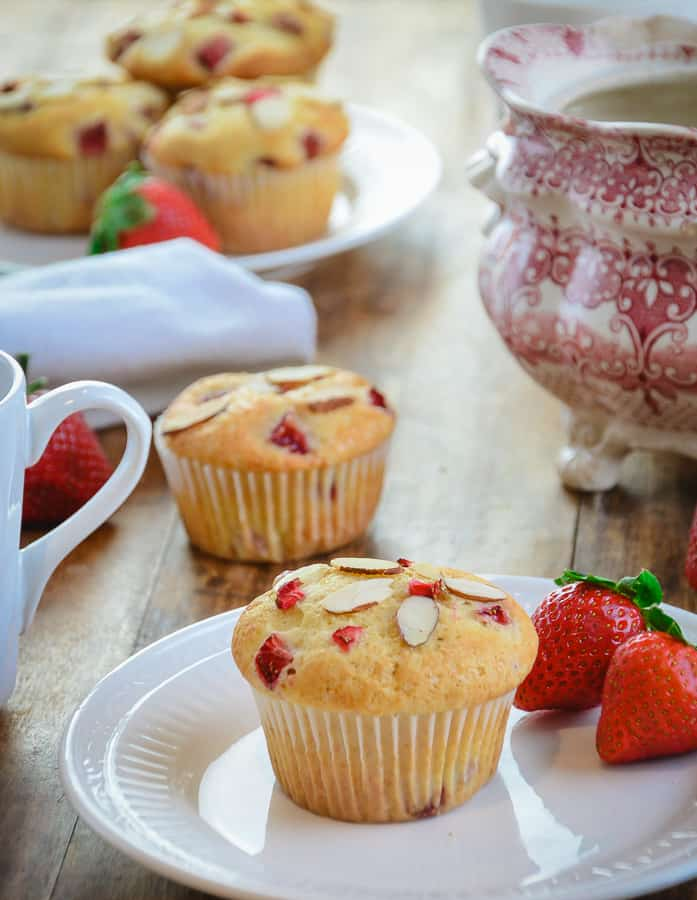 Fresh Strawberry Almond Muffins From the Historical Vintage Gardens Bed and Breakfast in Newark, NY