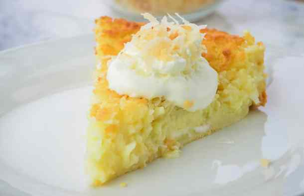 Classic Coconut Impossible Pie, made with homemade baking mix on a white plate