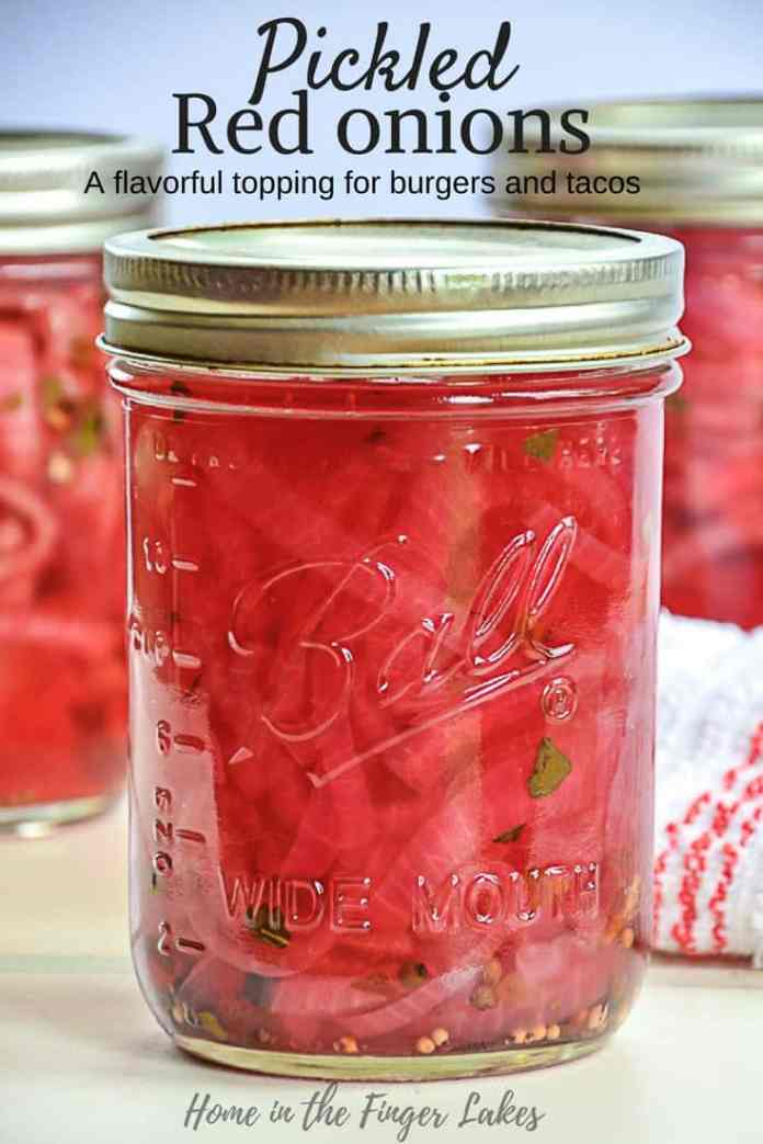 Pickled red onions are a great addition to most savory dishes, especially tacos, burgers, and hot dogs, and couldn't be easier to make.  Hot water bath can for long term storage in the pantry, or keep them in the fridge for 2 weeks.