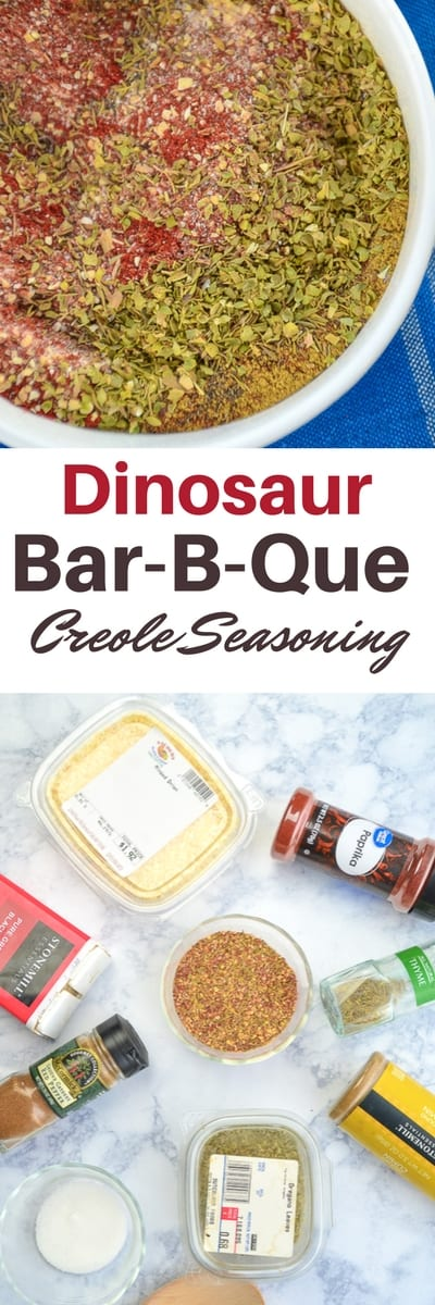 This Creole Seasoning Blend from Upstate New York's Dinosaur Bar-B-Que is a flavorful blend of 10 spices that is perfect for steak, seafood, and pork.