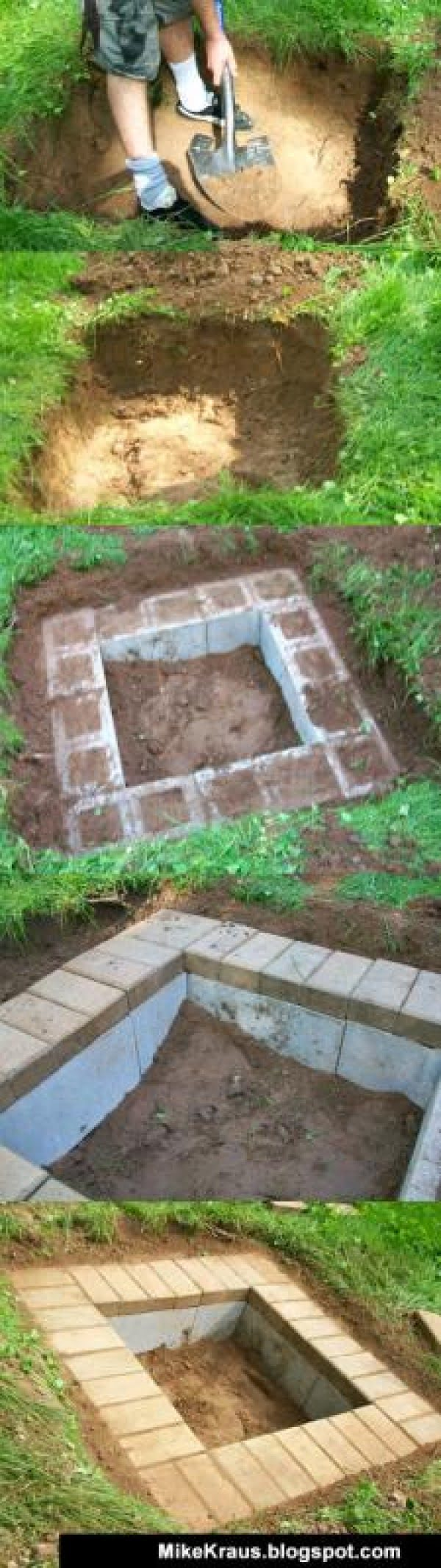 DIY Fire Pit - 40 Awesome Project Ideas for Your Best BBQ on Simple Cinder Block Fireplace id=82281