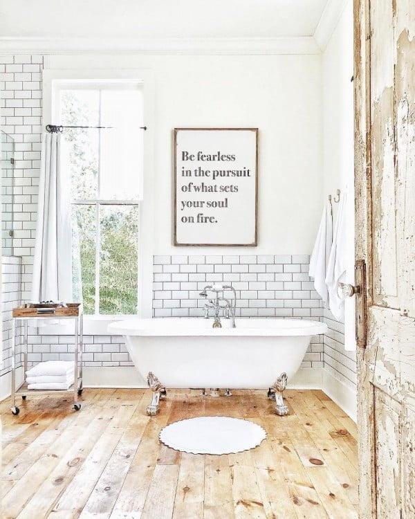 100 Cozy Rustic Farmhouse Bathroom Decor Ideas You Can ... on Rustic Farmhouse Bathroom Tile  id=83552