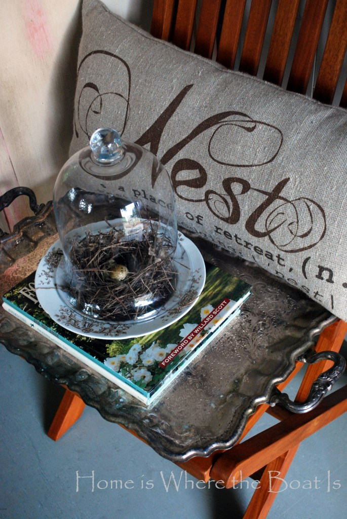 Nesting pillow | ©homeiswheretheboatis.net #pottingshed #gardenshed #windows #nest #burlap