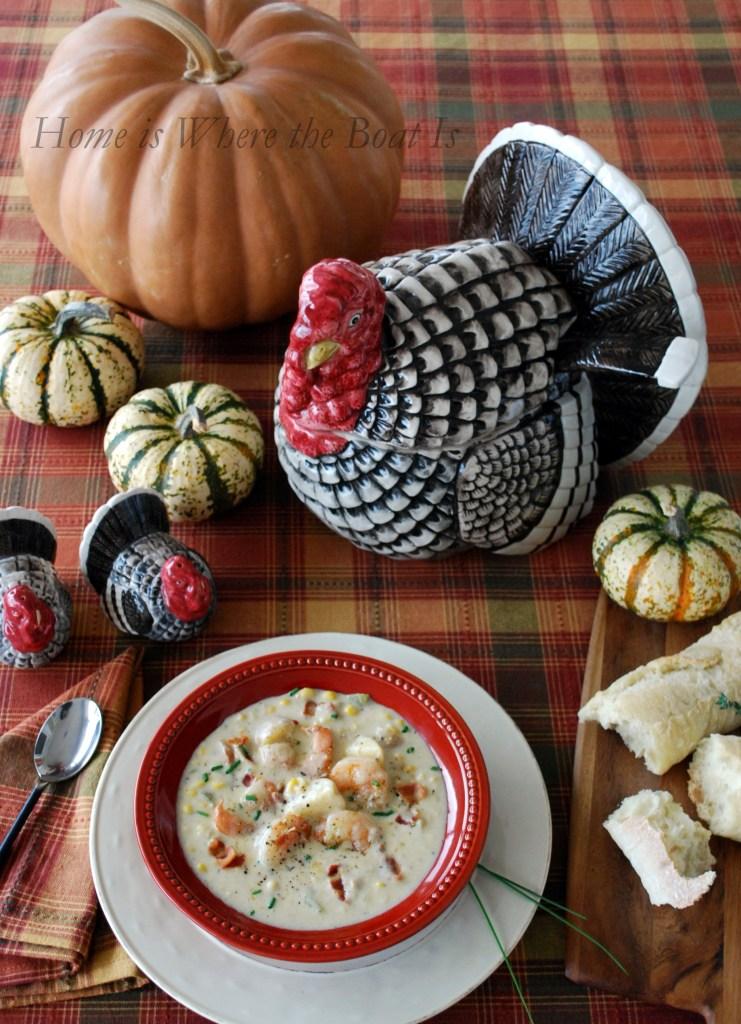 Cream of Plenty Soup, aka, Shrimp and Corn Chowder | ©homeiswheretheboatis.net #soup #recipes