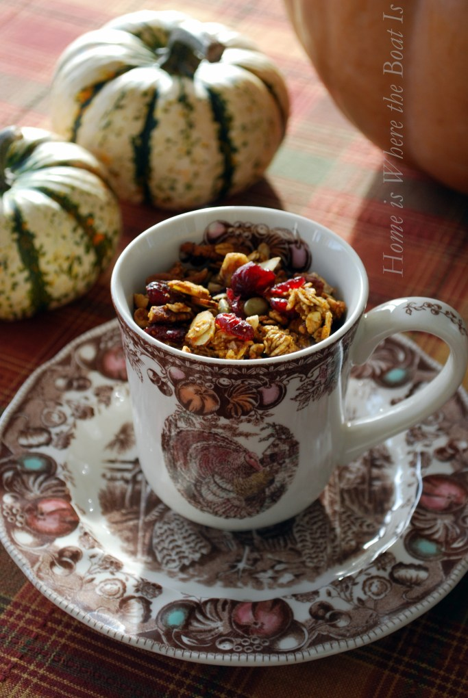 Pumpkin Granola! Make-ahead, flavorful and ideal for Thanksgiving weekend with family in town!   ©homeiswheretheboatis.net #pumpkin #recipe #brunch