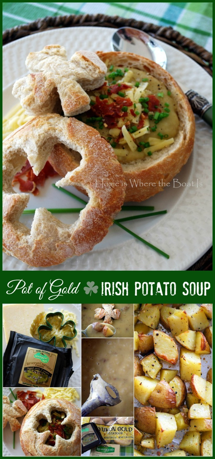 Pot of Gold Irish Potato Soup for St. Patrick's Day | ©homeiswheretheboatis.net #Irish #soup #stpatricksday #potato #recipe