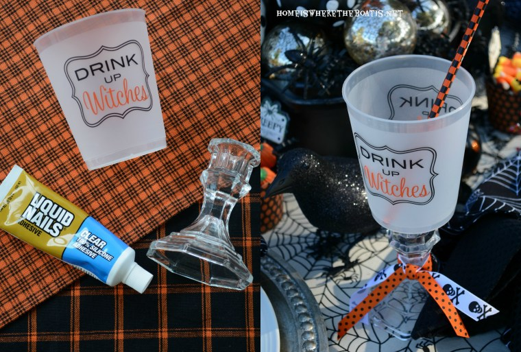 Drink Up Witches Cup DIY ©homeiswherethebotis.net #halloween #tablescapes #witch #alfresco