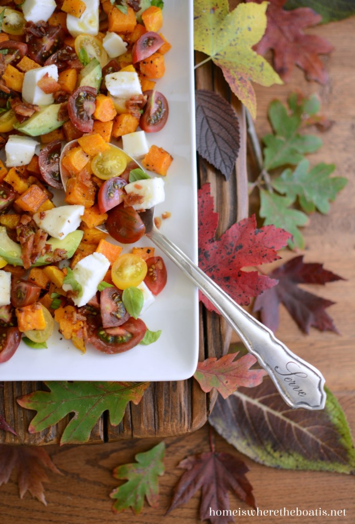 Butternut Caprese Salad | ©homeiswheretheboatis.net #recipes #fall