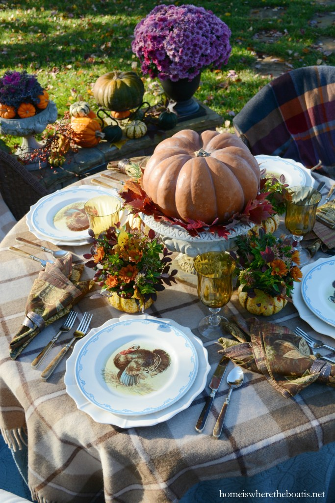 Giving Thanks table with Warm Plaid Layers and Pumpkins | homeiswheretheboatis.net #Thanksgiving #fall #tablescapes #alfresco