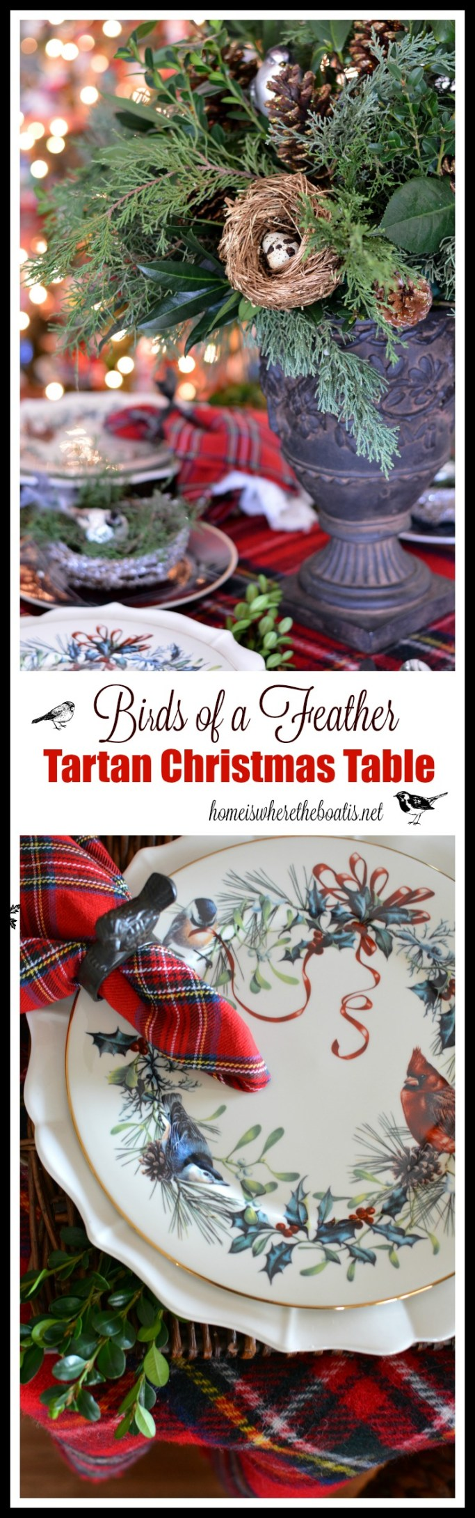 Birds of a Feather Tartan Christmas Table