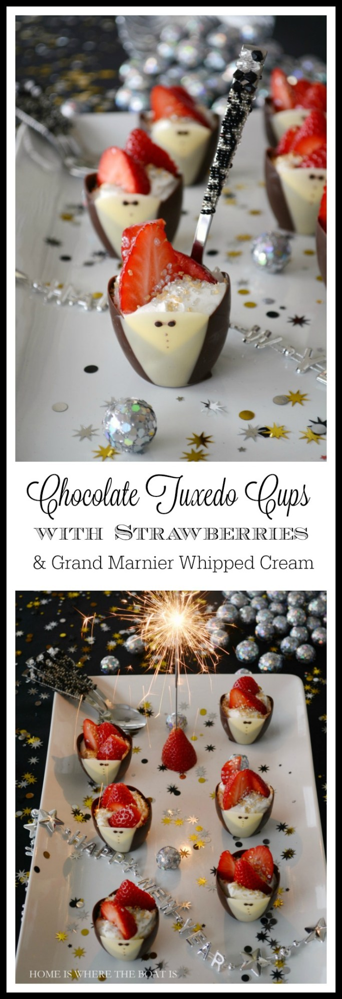 Chocolate Tuxedo Cups with Strawberries and Grand Marnier Whipped Cream