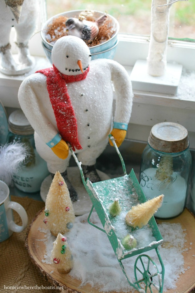 Dining with Snowmen | homeiswheretheboatis.net #tablescapes #winter #snowmen