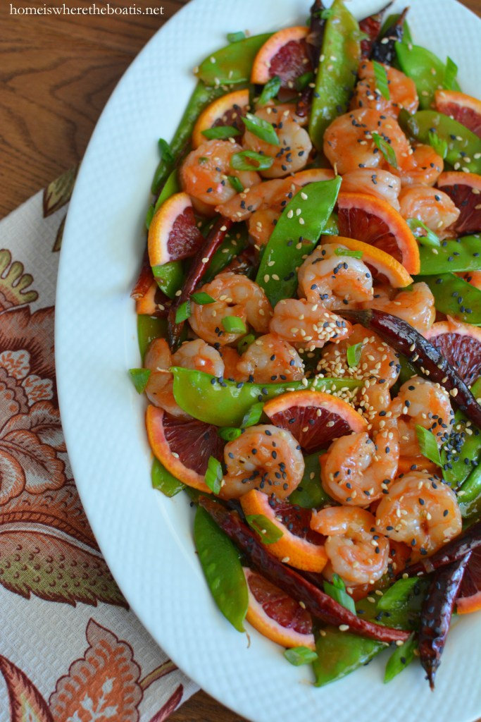 Blood Orange-Shrimp Stir-Fry for Chinese New Year | ©homeiswheretheboatis.net #healthy #recipes #newyear