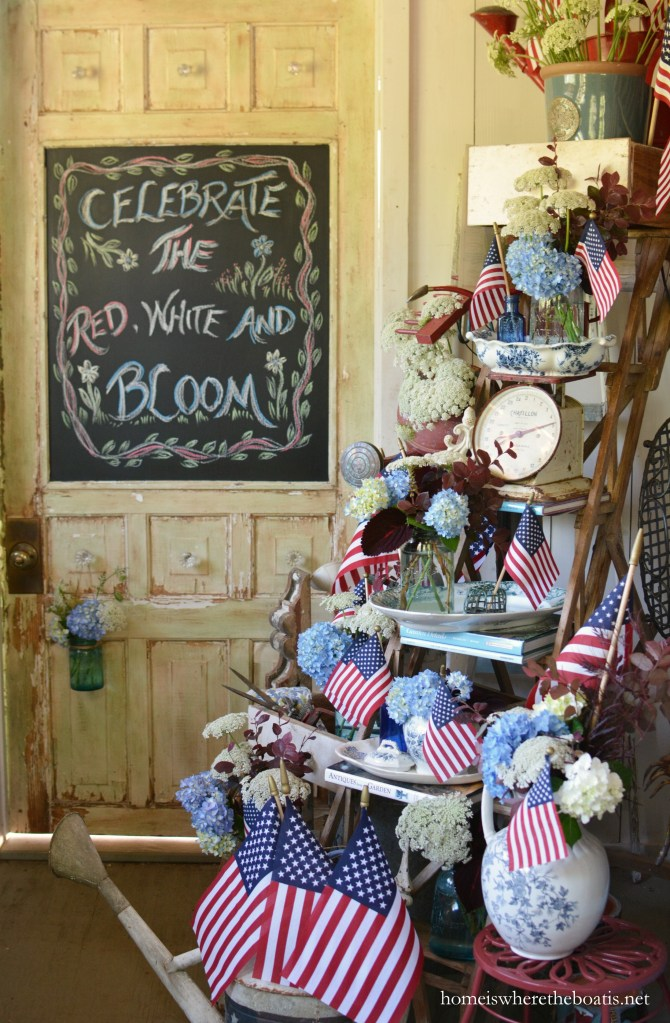 Chalking it Up to Celebrate the Red, White and Bloom! | ©homeiswheretheboatis.net #patriotic #pottingshed #chalkboard #redwhiteandblue #flowers #flag