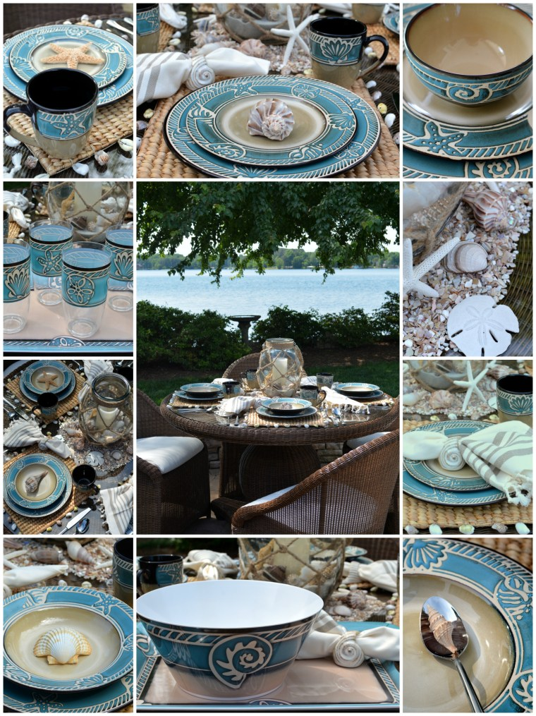 Seaside Table with Pfaltzgraff Montego