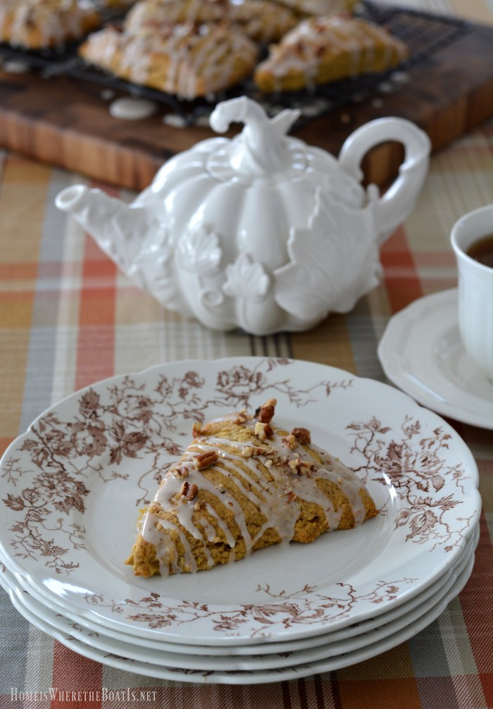 Pumpkin Scones with Maple Glaze and Pecans   ©homeiswheretheboatis.net #tea #fall #pumpkin #scones #recipe