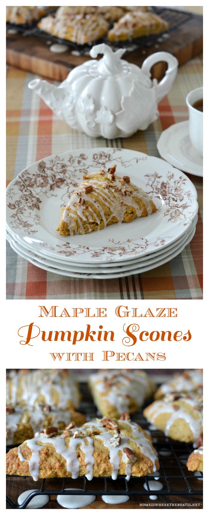 Maple Glaze Pumpkin Scones with Pecans | ©homeiswheretheboatis.net #fall #recipe #tea #pumpkin