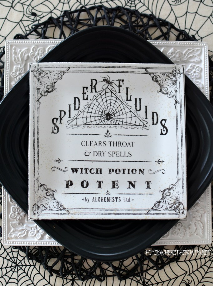 Spider Fluids Witch Potion Plate Halloween Apothecary Table | homeiswheretheboatis.net #halloween #tablescapes