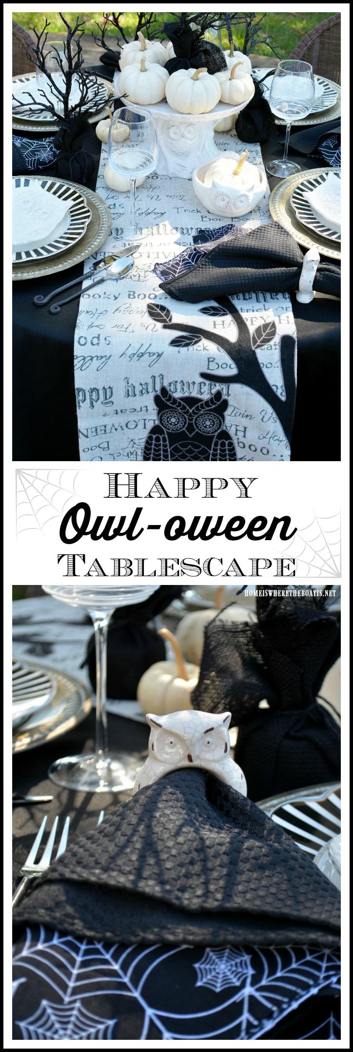 Happy Owl-oween Tablescape | homeiswheretheboatis.net #Halloween #tablescape #owls