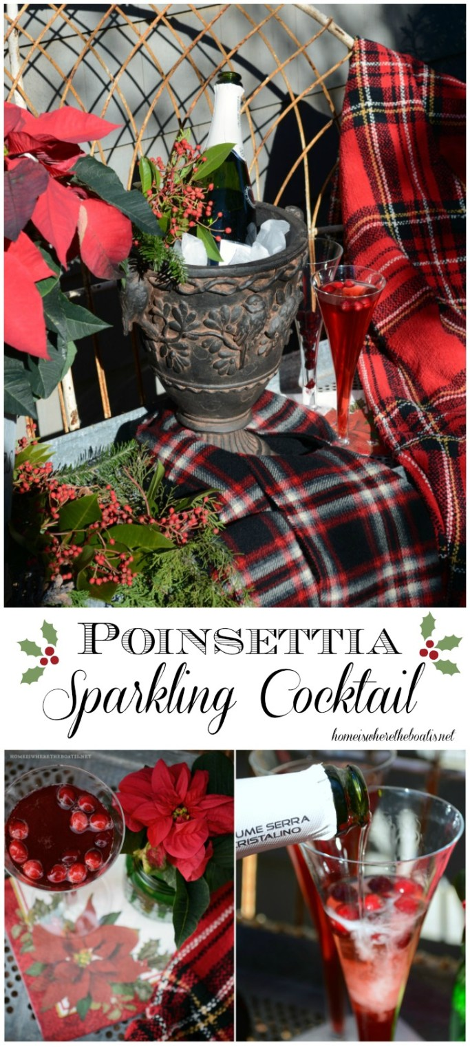 Poinsettia Sparkling Cocktail! Festive and easy to serve for a party, brunch or Christmas Eve! | ©homeiswheretheboatis.net #Christmas #cocktail #poinsettia