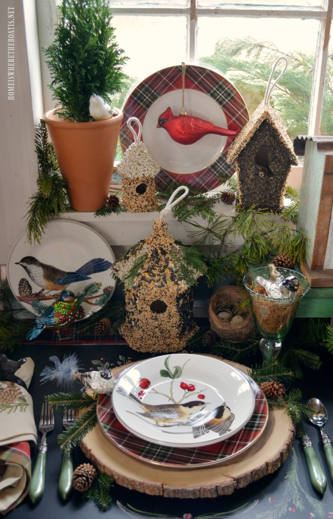 Winter nesting and woodland tablescape with birds in the Potting Shed with bird ornaments, birdhouses and winter fauna plates | homeiswheretheboatis.net