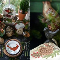 Woodland Table with Birds  and Winter Nesting in the Potting Shed