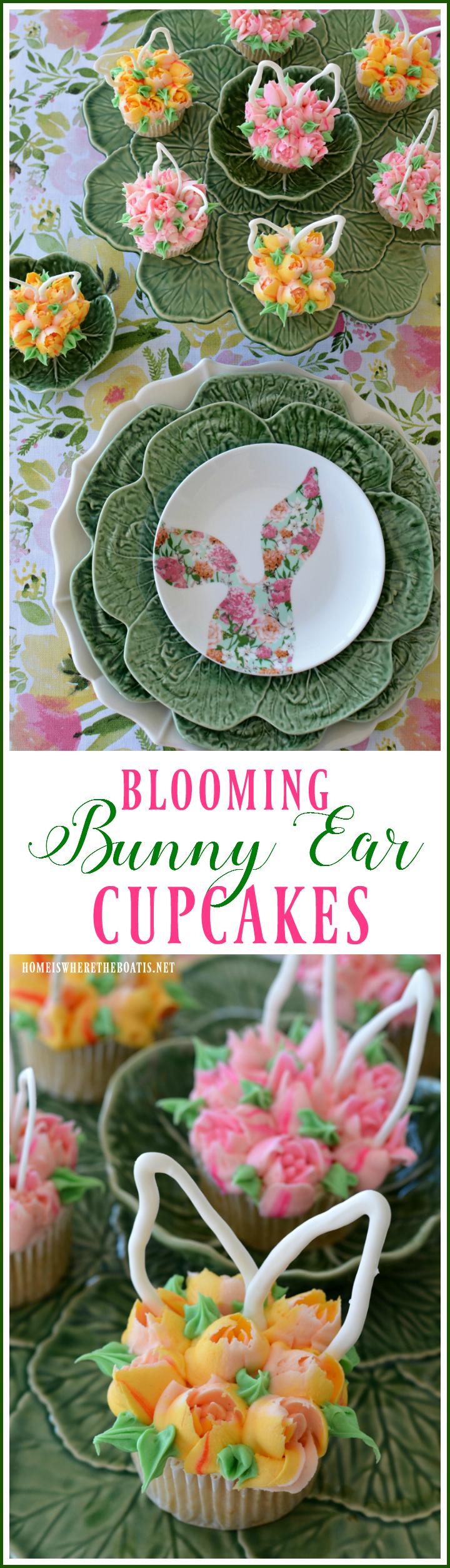Blooming Bunny Ear Cupcakes | ©homeiswheretheboatis.net #Easter #cupcakes #bunnies