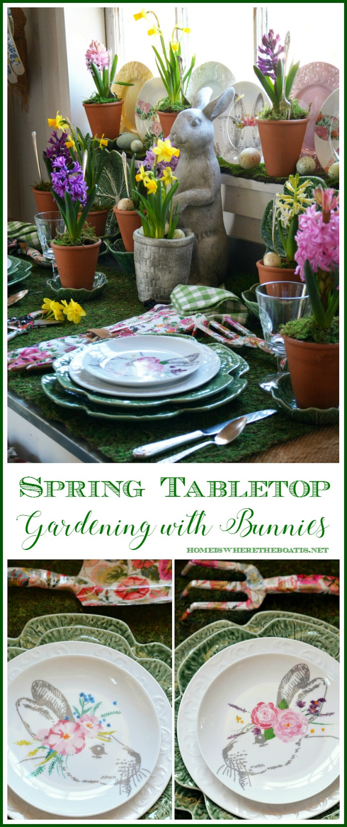 Spring Tabletop Gardening with Bunnies in the Potting Shed with a moss table runner, gardening gloves, blooming garden tools and spring bulbs | ©homeiswheretheboatis.net #tablescapes #spring #garden #bunnies