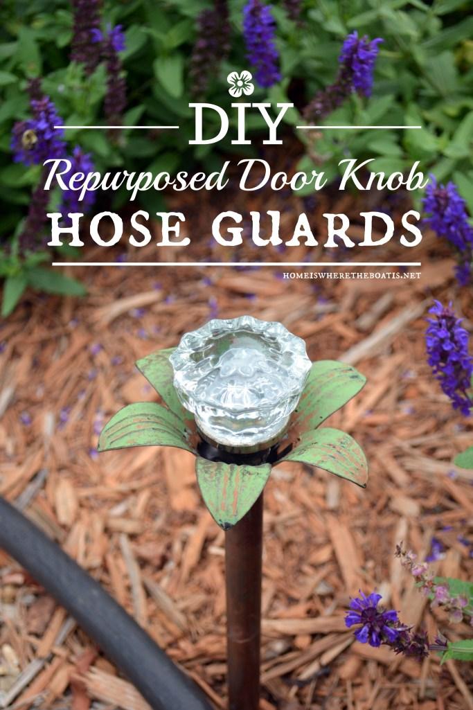 DIY Blooming Door Knob Hose Guards | ©homeiswheretheboatis.net #garden #flowers #DIY