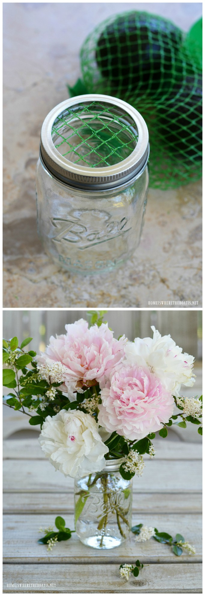 Recycled Flower Arranging Hack using plastic mesh bags from produce! | ©homeiswheretheboatis.net #masonjars #recycle #flowers #DIY