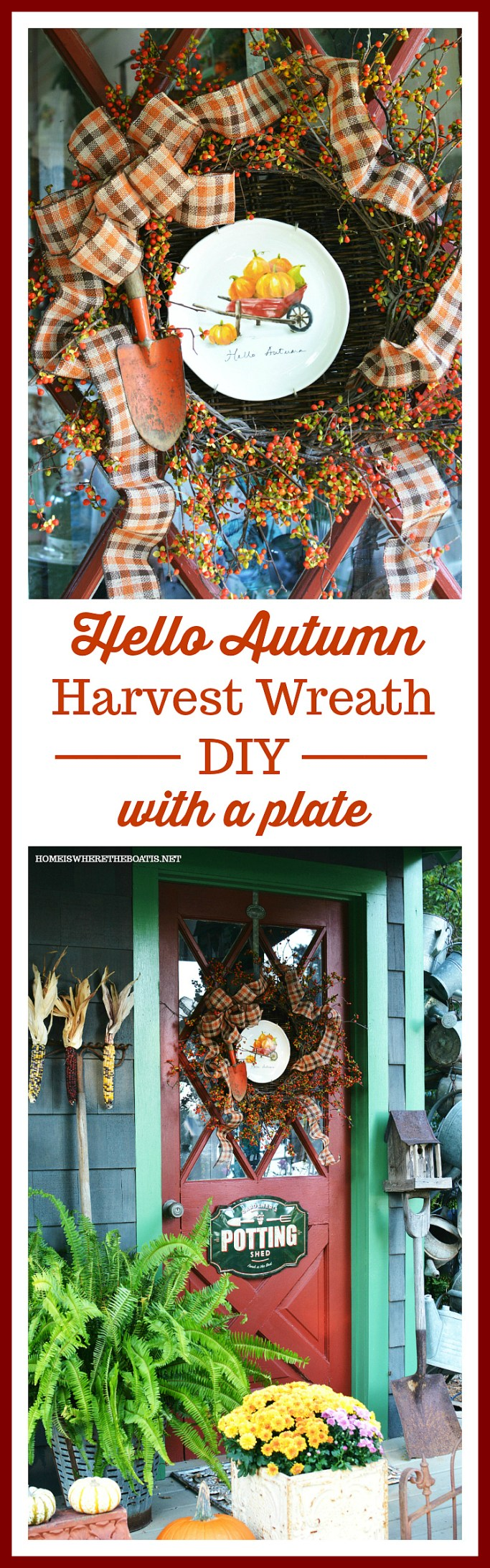 Hello Autumn Wreath And A Wheelbarrow Of Pumpkins Home Is Where The Boat Is